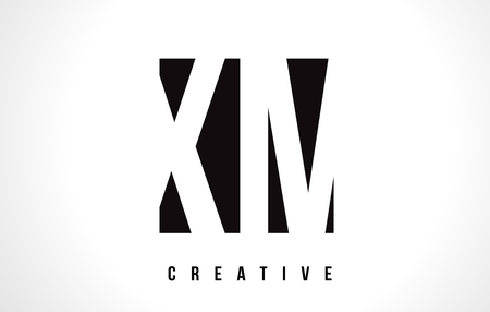 xm: XM X M White Letter Logo Design with Black Square Vector Illustration Template. Illustration