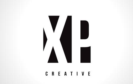 XP X P White Letter Logo Design with Black Square Vector Illustration Template.
