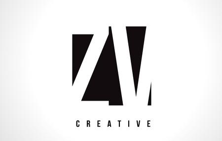 ZV Z V White Letter Logo Design with Black Square Vector Illustration Template.