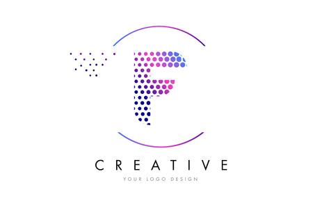F Pink Magenta Dotted Bubble Letter Logo Design. Dots Lettering Vector Illustration