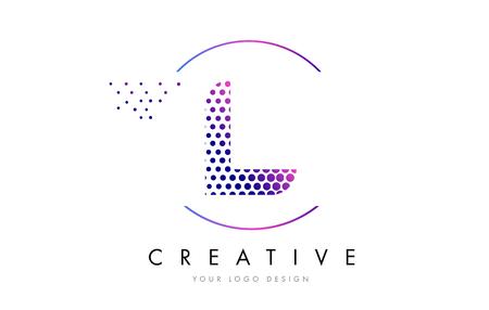 L Pink Magenta Dotted Bubble Letter Logo Design. Dots Lettering Vector Illustration