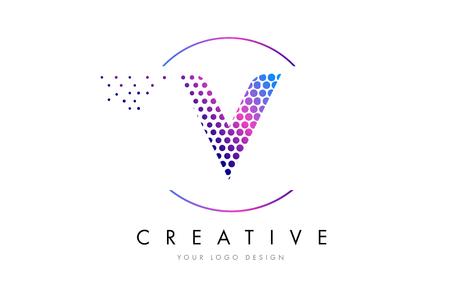V Pink Magenta Dotted Bubble Letter Logo Design. Dots Lettering Vector Illustration