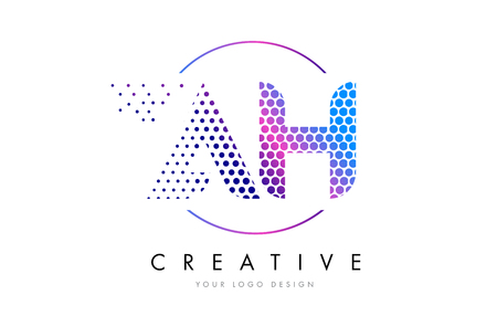 AH A H Pink Magenta Dotted Bubble Letter Logo Design. Dots Lettering Vector Illustration