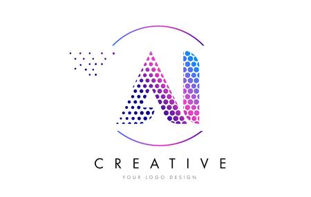私は AI はピンク マゼンタの点線バブル文字ロゴ デザインです。ベクトル図をレタリング ドット