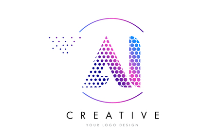 AI A I Pink Magenta Dotted Bubble Letter Logo Design. Dots Lettering Vector Illustration