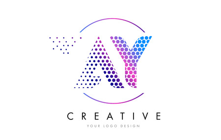 AY A Y Pink Magenta Dotted Bubble Letter Logo Design. Dots Lettering Vector Illustration