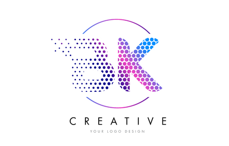 BK B K Pink Magenta Dotted Bubble Letter Logo Design. Dots Lettering Vector Illustration