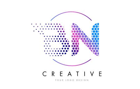 BN B N Pink Magenta Dotted Bubble Letter Logo Design. Dots Lettering Vector Illustration