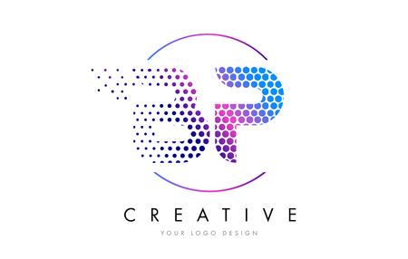 BP B P Pink Magenta Dotted Bubble Letter Logo Design. Dots Lettering Vector Illustration