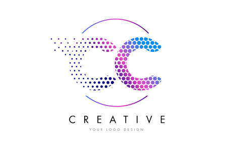 cc: CC C C Pink Magenta Dotted Bubble Letter Logo Design. Dots Lettering Vector Illustration