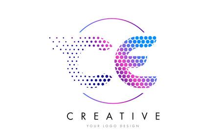 CE C E Pink Magenta Dotted Bubble Letter Logo Design. Dots Lettering Vector Illustration Illustration