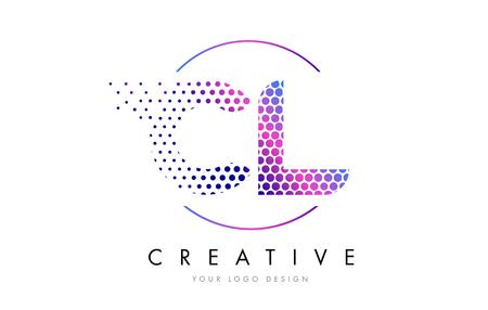 CL C L Pink Magenta Dotted Bubble Letter Logo Design. Dots Lettering Vector Illustration Logó