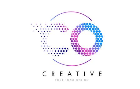 CO C O Pink Magenta Dotted Bubble Letter Logo Design. Dots Lettering Vector Illustration