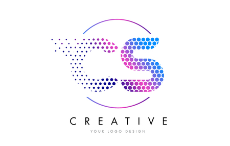 CS C S Pink Magenta Dotted Bubble Letter Logo Design. Dots Lettering Vector Illustration