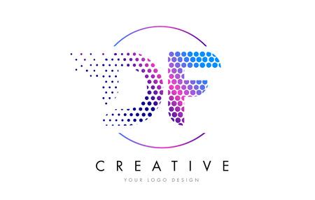 DF D F Pink Magenta Dotted Bubble Letter Logo Design. Dots Lettering Vector Illustration 向量圖像