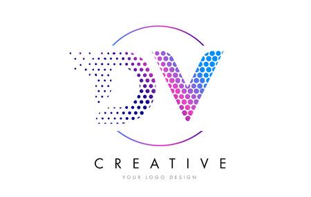 DV D V Pink Magenta Dotted Bubble Letter Logo Design. Dots Lettering Vector Illustration