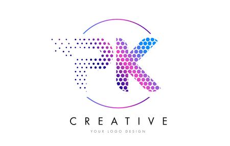 PK P K Pink Magenta Dotted Bubble Letter Logo Design. Dots Lettering Vector Illustration