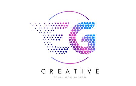 eg: EG E G Pink Magenta Dotted Bubble Letter Logo Design. Dots Lettering Vector Illustration Illustration