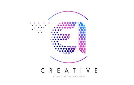 ei: EI E I Pink Magenta Dotted Bubble Letter Logo Design. Dots Lettering Vector Illustration