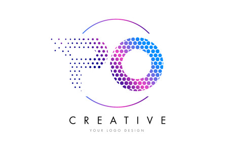 po: PO P O Pink Magenta Dotted Bubble Letter Logo Design. Dots Lettering Vector Illustration