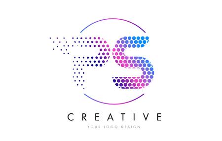 PS P S Pink Magenta Dotted Bubble Letter Logo Design. Dots Lettering Vector Illustration