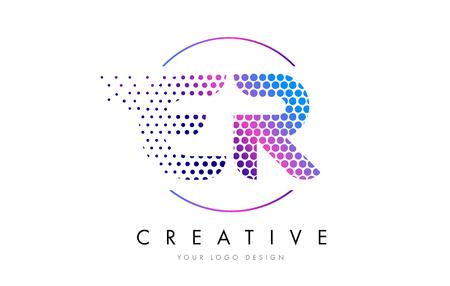 ER E R Pink Magenta Dotted Bubble Letter Logo Design. Dots Lettering Vector Illustration