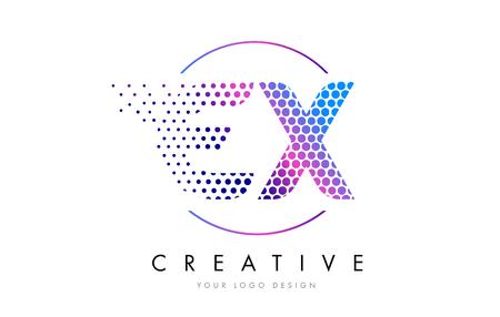 ex: EX E X Pink Magenta Dotted Bubble Letter Logo Design. Dots Lettering Vector Illustration
