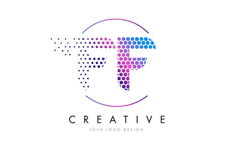FF F F Pink Magenta Dotted Bubble Letter Logo Design. Dots Lettering Vector Illustration 向量圖像