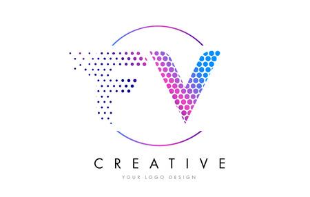 fv: FV F V Pink Magenta Dotted Bubble Letter Logo Design. Dots Lettering Vector Illustration Illustration