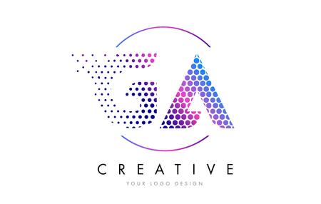 GA G A Pink Magenta Dotted Bubble Letter Logo Design. Dots Lettering Vector Illustration Logo