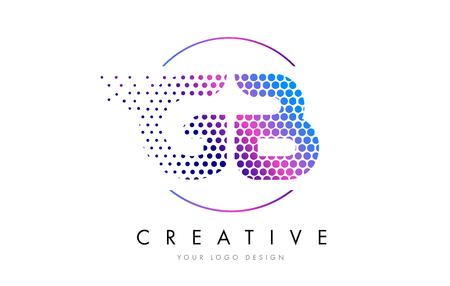 GB G B Pink Magenta Dotted Bubble Letter Logo Design. Dots Lettering Vector Illustration Illustration