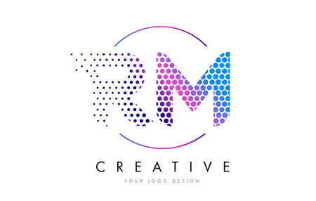 RM R M Pink Magenta Dotted Bubble Letter Logo Design. Dots Lettering Vector Illustration