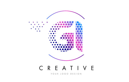 GI G I Pink Magenta Dotted Bubble Letter Logo Design. Dots Lettering Vector Illustration