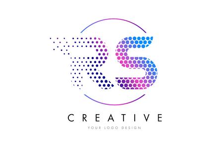 RS R S Pink Magenta Dotted Bubble Letter Logo Design. Dots Lettering Vector Illustration