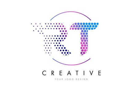 RT R T Pink Magenta Dotted Bubble Letter Logo Design. Dots Lettering Vector Illustration