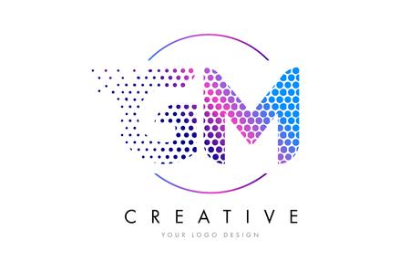 gm: GM G M Pink Magenta Dotted Bubble Letter Logo Design. Dots Lettering Vector Illustration