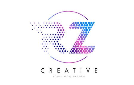 RZ R Z Pink Magenta Dotted Bubble Letter Logo Design. Dots Lettering Vector Illustration