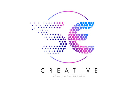 se s e pink magenta dotted bubble letter logo design dots lettering vector illustration illustration
