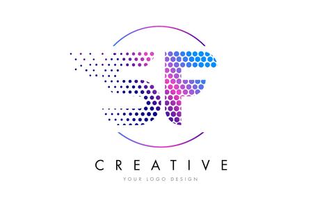 SF S F Pink Magenta Dotted Bubble Letter Logo Design. Dots Lettering Vector Illustration