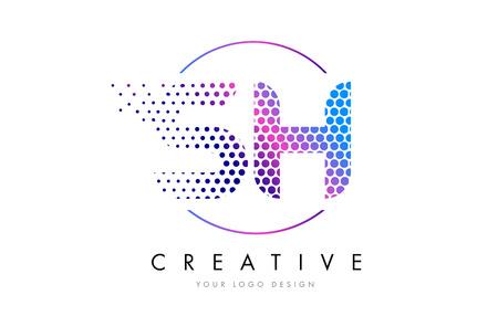 sh: SH S H Pink Magenta Dotted Bubble Letter Logo Design. Dots Lettering Vector Illustration