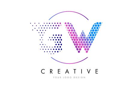 GW GW 핑크 마젠타 색 점선 로고 로고 디자인. 벡터 일러스트 레이 션 레터링 점