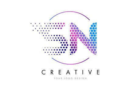 sn s n pink magenta dotted bubble letter logo design dots lettering vector illustration illustration