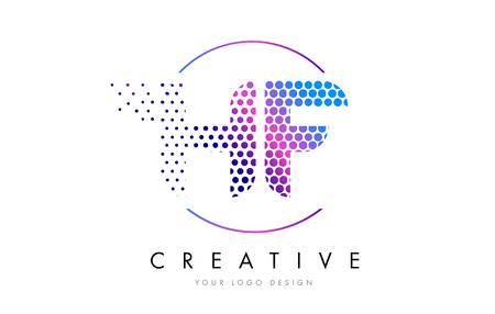 hf: HF H F Pink Magenta Dotted Bubble Letter Logo Design. Dots Lettering Vector Illustration Illustration