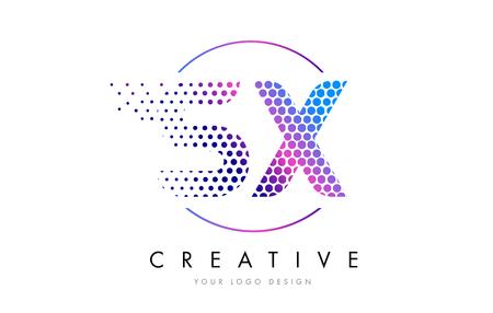 sx s x pink magenta dotted bubble letter logo design dots lettering vector illustration illustration