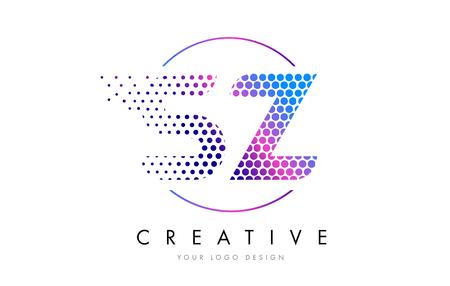 SZ S Z Pink Magenta Dotted Bubble Letter Logo Design. Dots Lettering Vector Illustration Logó