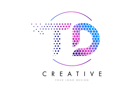 Conception de logo de lettre de bulle de rose magenta de TD TD. Dots lettrage Vector Illustration Banque d'images - 75848357