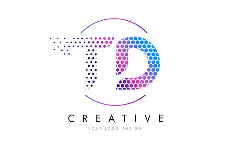 Conception de logo de lettre de bulle de rose magenta de TD TD. Dots lettrage Vector Illustration