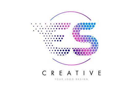 ES E S Pink Magenta Dotted Bubble Letter Logo Design. Dots Lettering Vector Illustration
