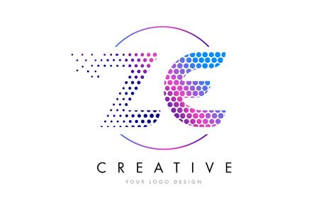 ze: ZE Z E Pink Magenta Dotted Bubble Letter Logo Design. Dots Lettering Vector Illustration
