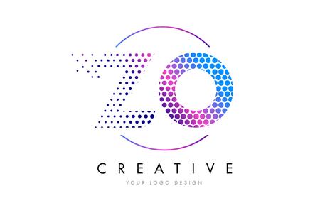 ZO ZO Pink Magenta Dotted Bubble Letter Logo Design. Kropki napis ilustracji wektorowych